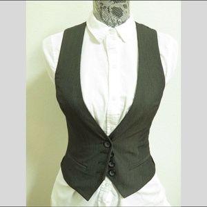Sz S Gray Stripe F21 Juniors Poly #94N Suit Vest